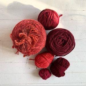 Bundle of Pink-Red-Wine coloured designer yarn